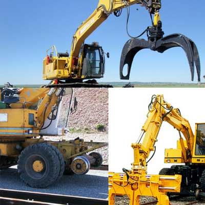 Maquinaria con diversos accesorios para vía ferrea u obra civil