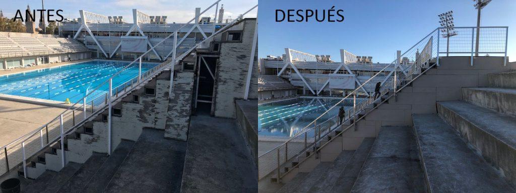Aspecto de tapas laterales de las gradas antes y después de la obra