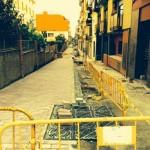 Primera fase de pavimentación de la calle