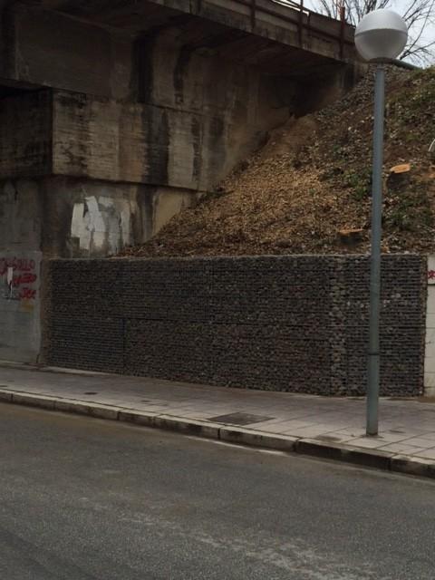 Soportación del talud con el nuevo muro de gaviones