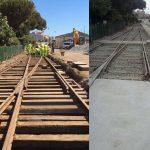 Antes y después hormigonado vías de servicio en Estación de RENFE de Mataró