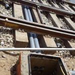 Ejecución de paso de instalaciones bajo la plataforma de vía a hormigonar hasta nueva arqueta de registro