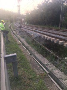 Ubicación del socavón bajo línea férrea