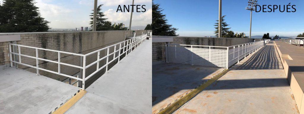 Colocación de chapa perforada para protección de barandillas de los núcleos de escalera de acceso a zona de gradas