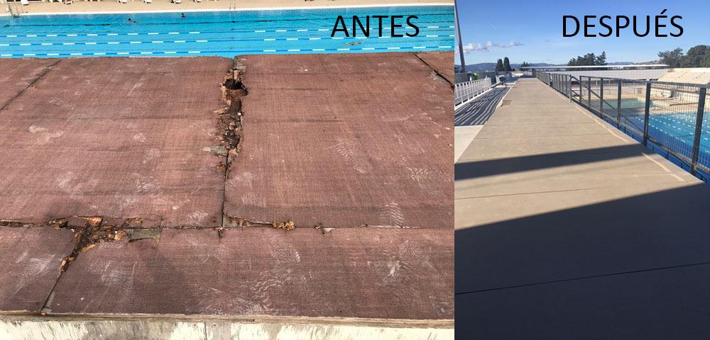 Estado plataforma gradas antes y después de colocar el nuevo pavimento