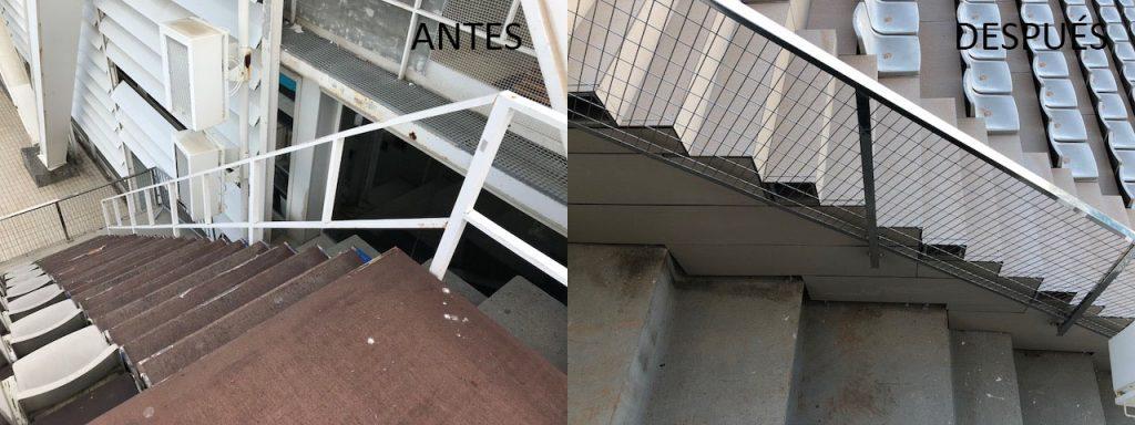 Substitución de barandilla existente por nueva de acero inoxidable AISI 316